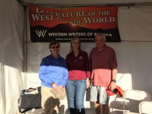 WWA Executive Director Candy Moulton, with Sherry Monahan and Bill Groneman, at the Tucson Book Festival